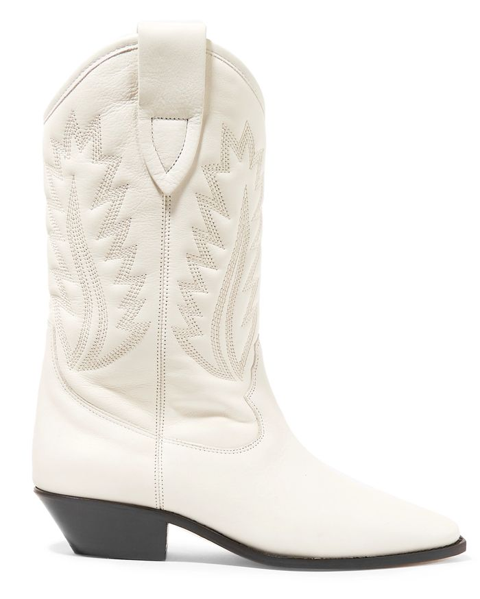 * Isabel Marant Étoile Dallin cowboy-style white quilted leather boots are available HERE
