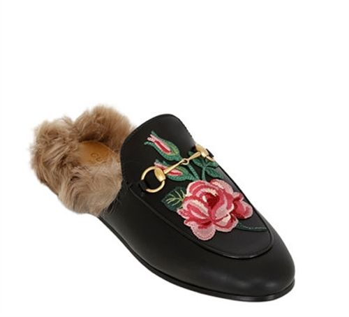 shop-gucci-princetown-fur-lined-leather-slipper-with-rose-applique
