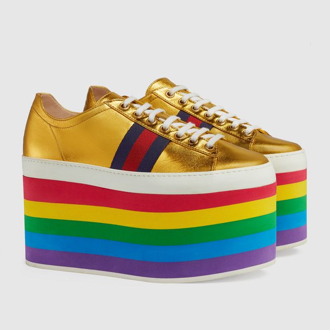 Would you wear these Gucci rainbow-striped platform sneakers?