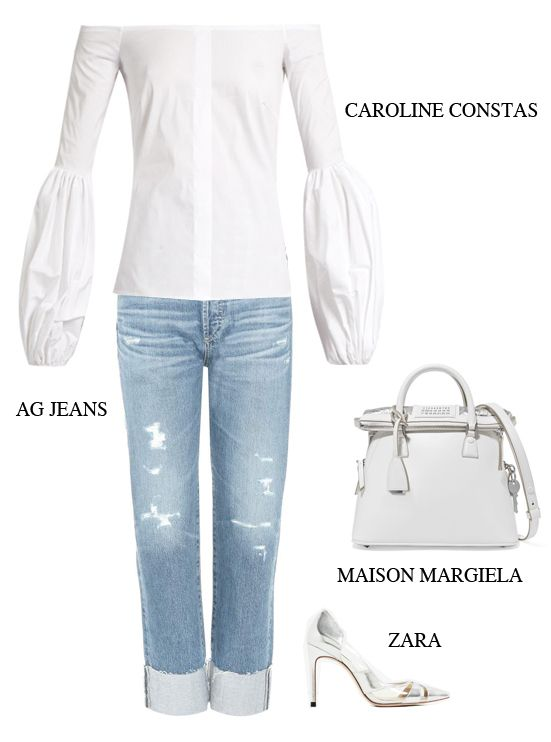 off-the-shoulder-blouse-jeans-outfit-inspiration