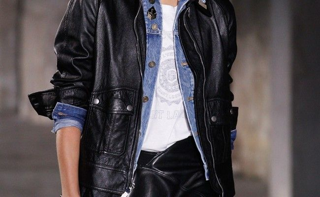 saint-laurent-spring-2017-leather-biker-jacket-over-denim-jacket-outfit