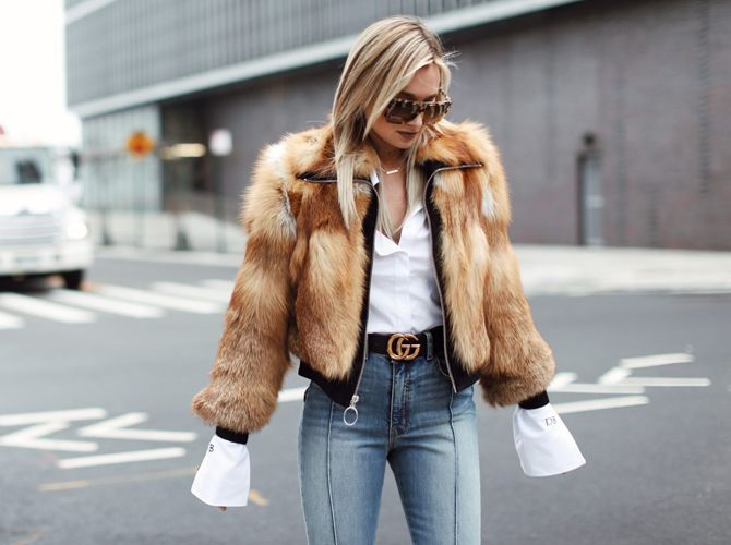 Here's how fashion girls are wearing cropped fur jackets this winter