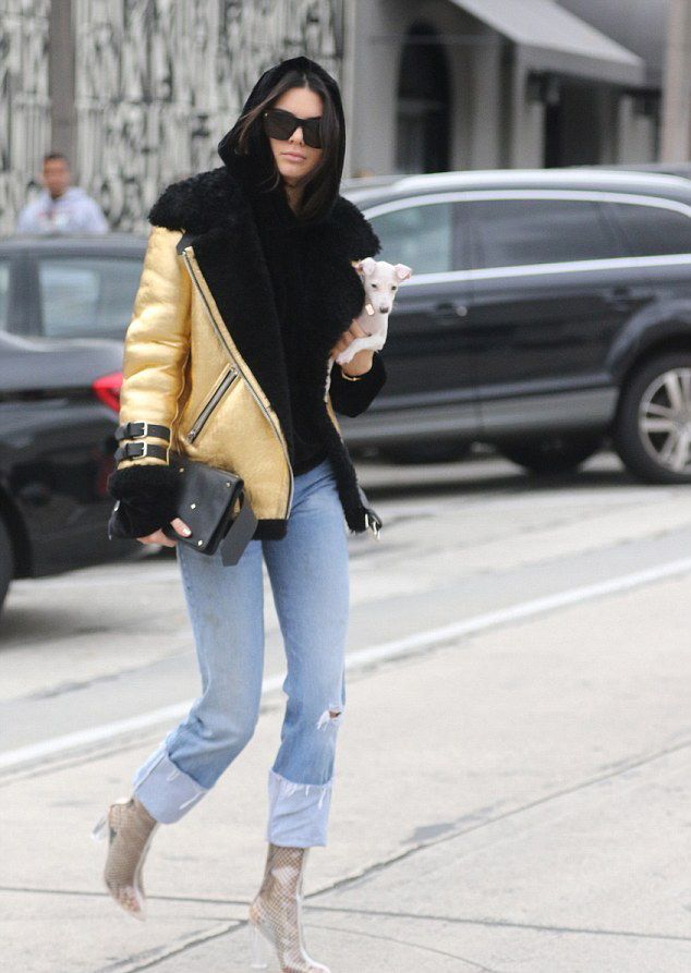Kendall-Jenner-Acne-studios-velocite-jacket-gold-black-street-style-outfit