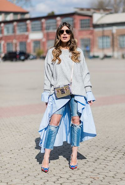 dulceida-blogger-dress-over-jeans-milan-fashion-week-street-style-fall-2017