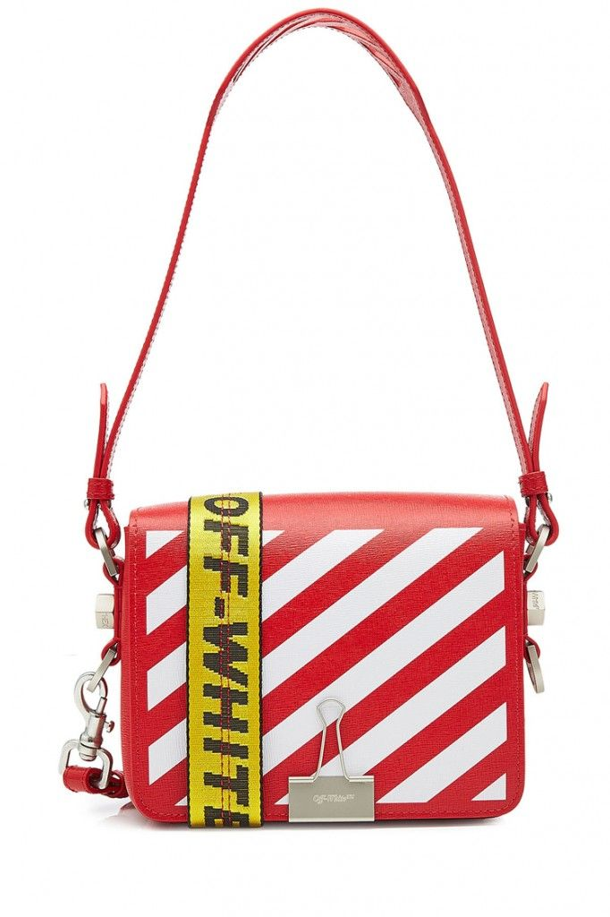 3f928eed4dd5 shop-off-white-red-leather-iconic-diagonal-stripes-. The binder clip bag ...