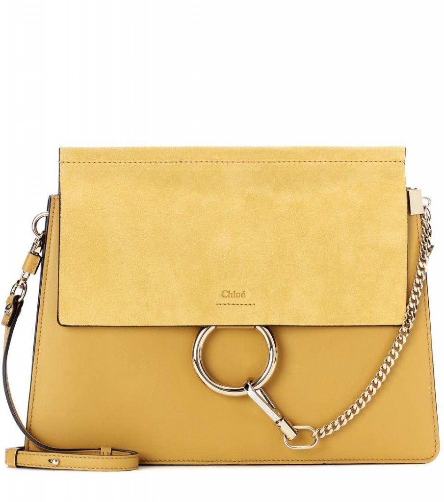 chloe-faye-yellow-leather-suede-shoulder-bag