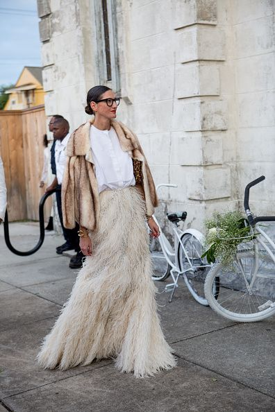 jenna-lyons-feather-maxi-skirt-white-shirt-wedding-outfit-solange-knowles