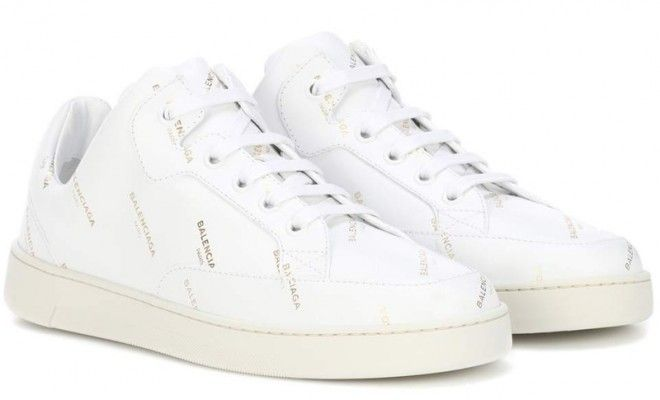 balenciaga-golden-logo-printed-white-leather-sneakers