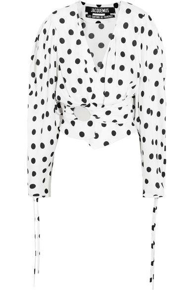 jacquemus-polka-dot-poplin-silk-blouse-cropped-puffed-shoulders-nipped-waist-circle-hardware