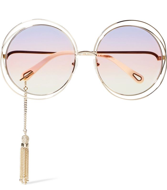 shop-chloe-carlina-round-frame-sunglasses-with-tassel-trims