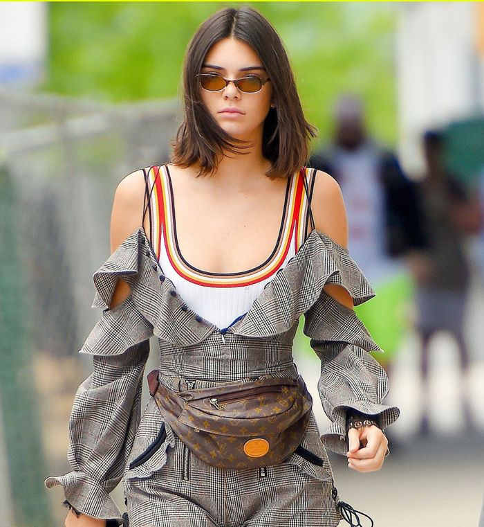 kendall-jenner-self-portrait-wool-check-frill-top-shirts-fall-winter-2017-collection-street-style-look