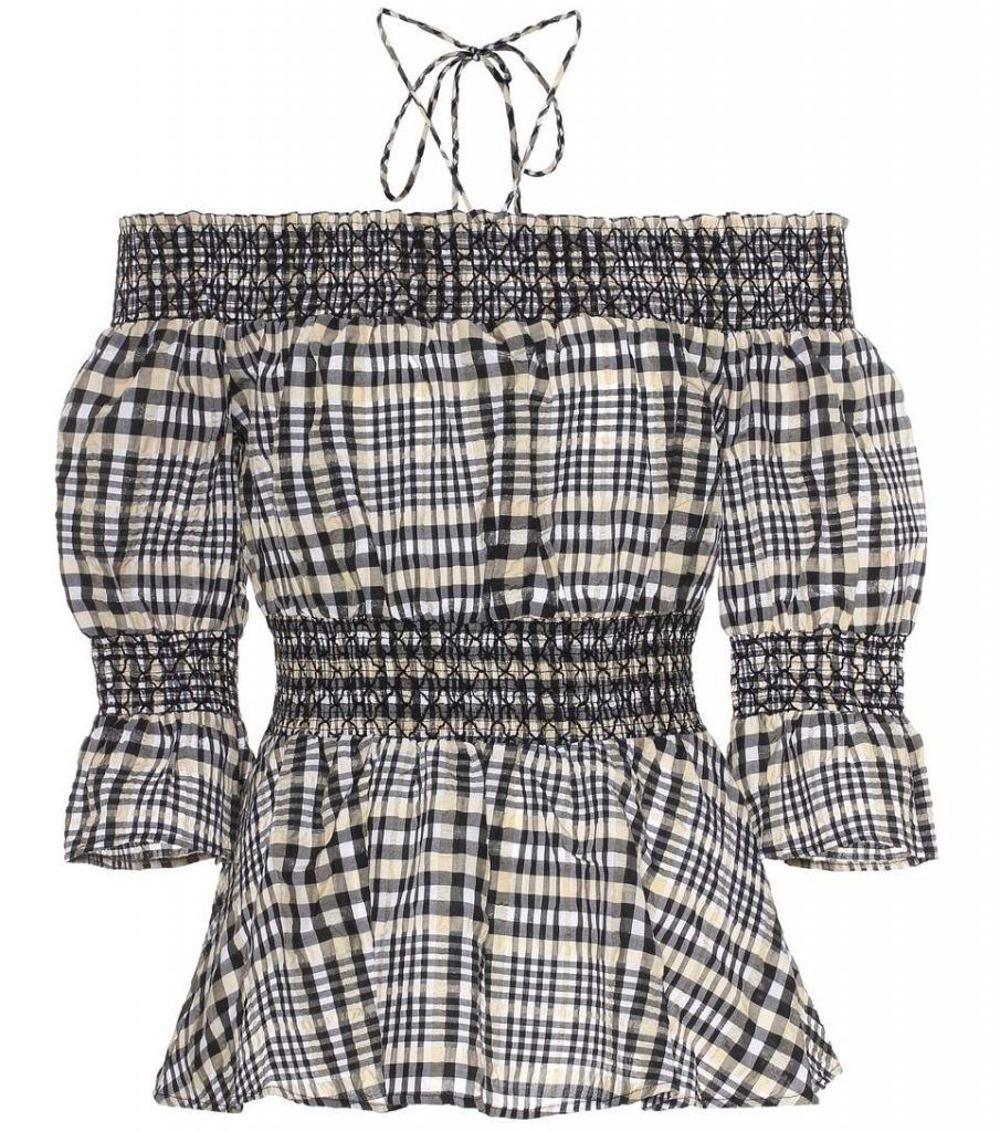 shop-ganni-charron-plaid-off-the-shoulder-top