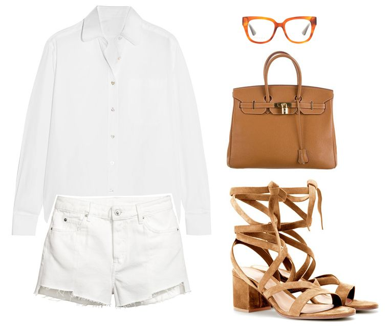 summer-outfit-white-denim-shorts-brown-suede-sandals-bag-sunglasses