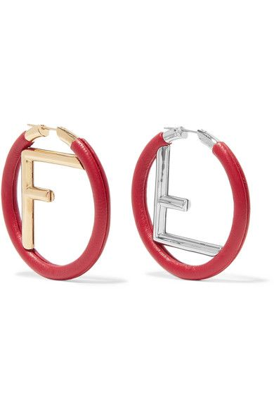 shop-fendi-logo-gold-silver-red-leather-hoop-earrings