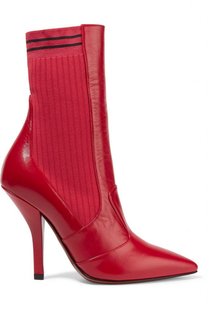 shop-fendi-rockoko-red-stretch-knit-leather-ankle-boots