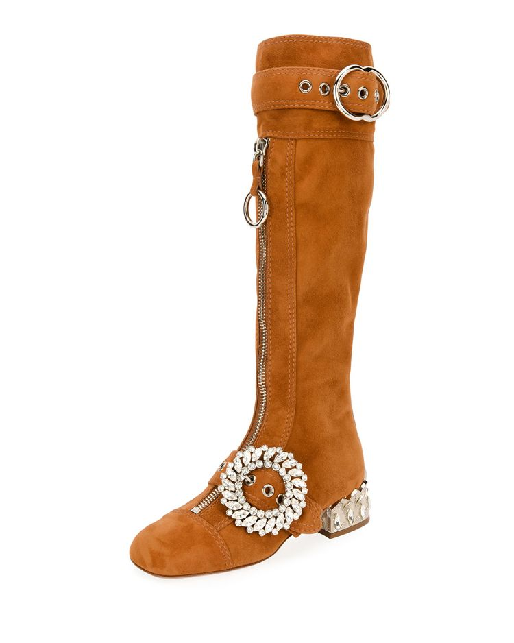 shop-miu-miu-suede-crystal-embellished-buckle-knee-high-boots