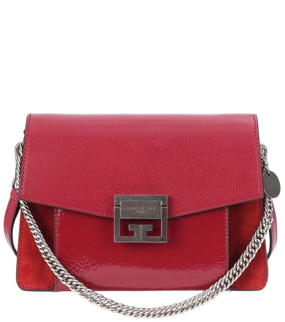 shop-givenchy-gv3-small-red-mixed-grained-patent-leather-shoulder-bag