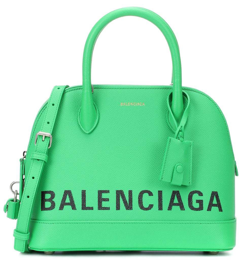 shop-balenciaga-ville-s-bright-green-leather-bag-with-graffiti-style-logo-branding
