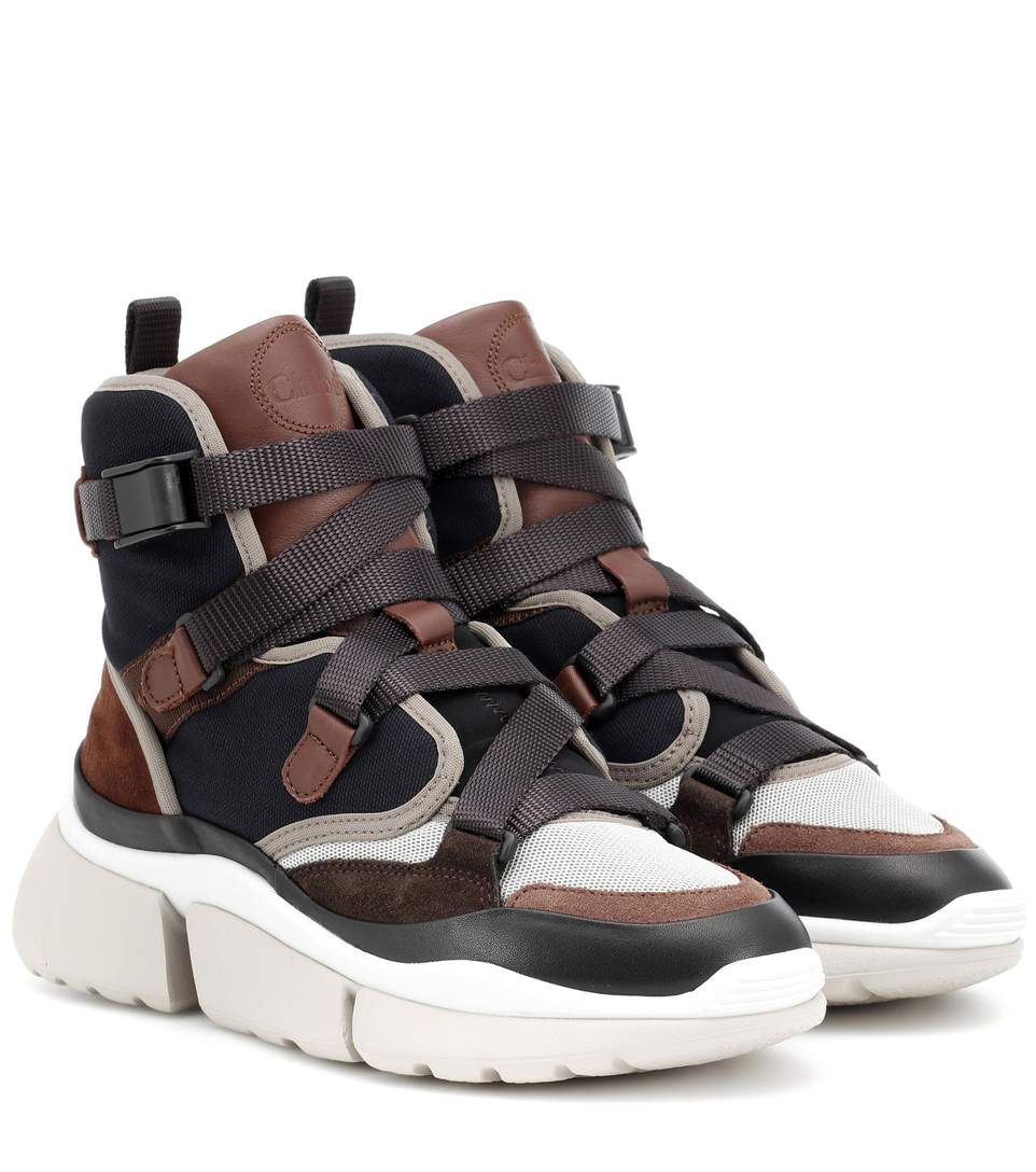 chloe-sonnie-high-top-sneakers-brown-leather-suede-canvas