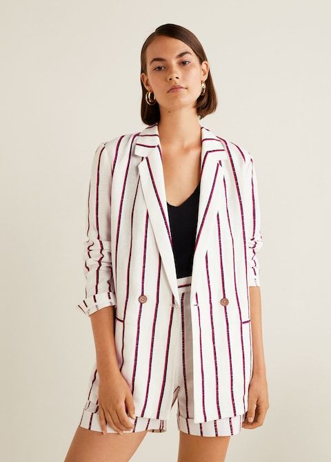 mango-striped-linen-blazer-shorts-combo