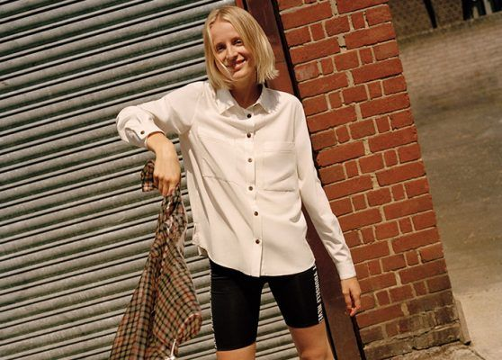 Just in time for Pre-Fall, here's another bold way of styling your white cycling shorts