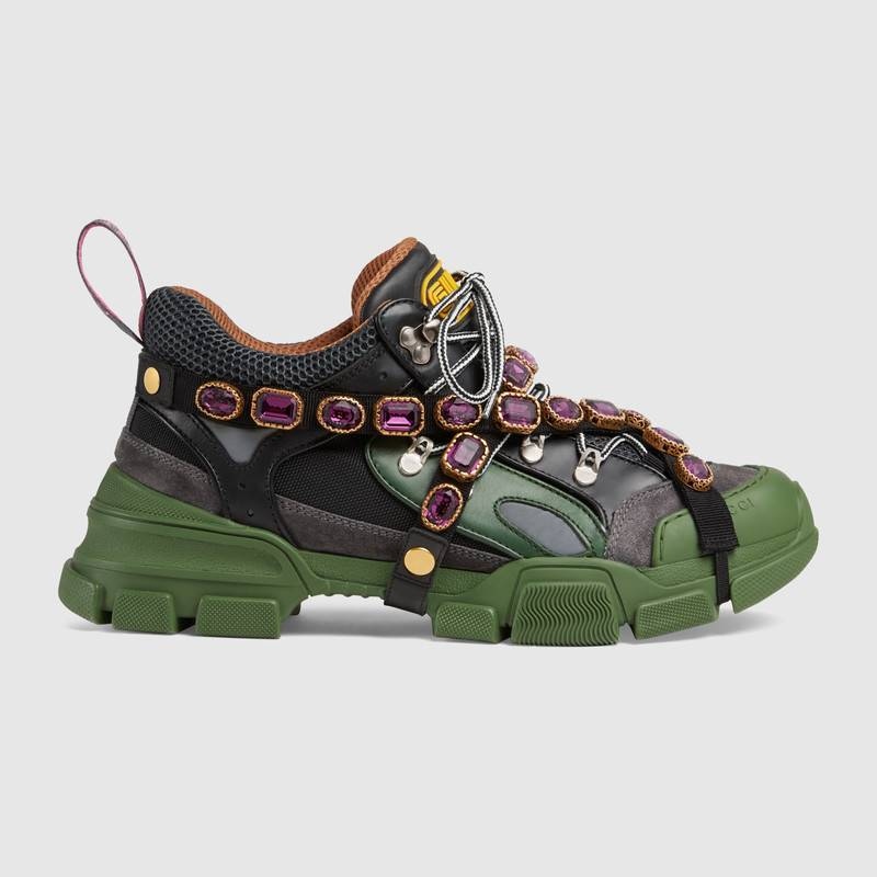 shop-gucci-flashtreck-sneaker-with-removable-crystals-green-black-leather