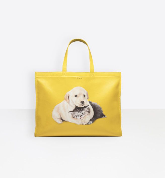 balenciaga-puppy-and-kitten-shopper-bag-yellow