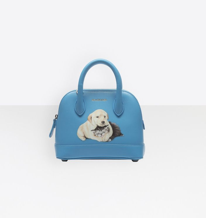 balenciaga-ville-puppy-and-kitten-print-xxs-turquoise-leather-bag