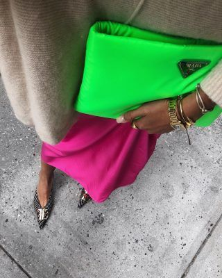 Cool girls are a adding a touch of neon to their fall outfits with this accessory