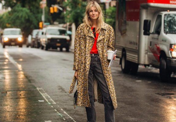 The animal print coat is item of the season