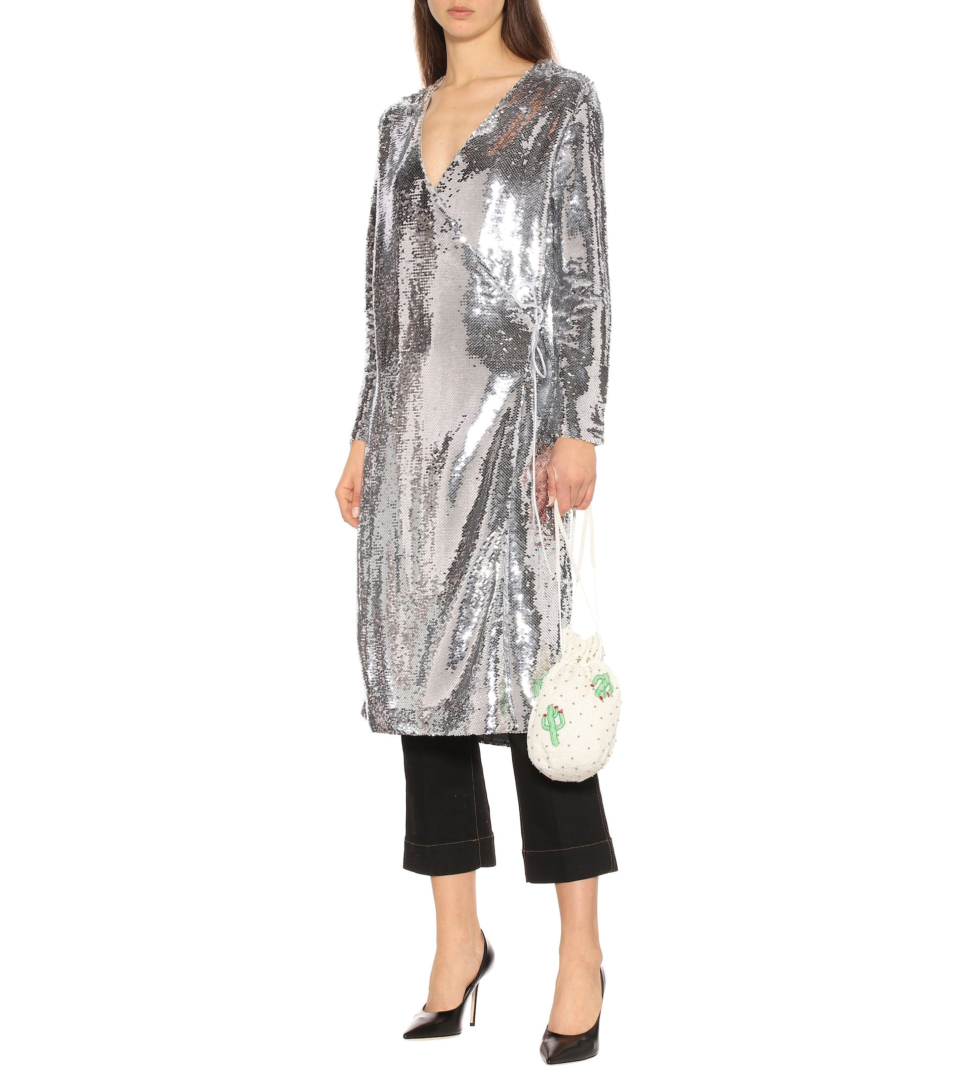 ganni-sequined-wrap-midi-dress-silver