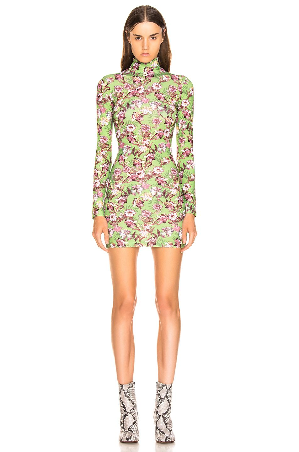 vetements-green-flowers-long-sleeve-body-dress