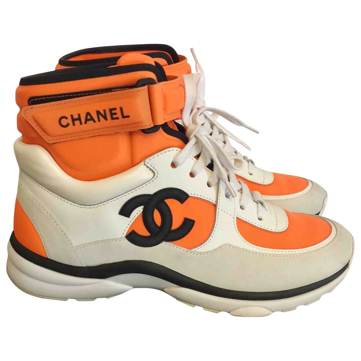 shop-chanel-ankle-strap-orange-sneakers