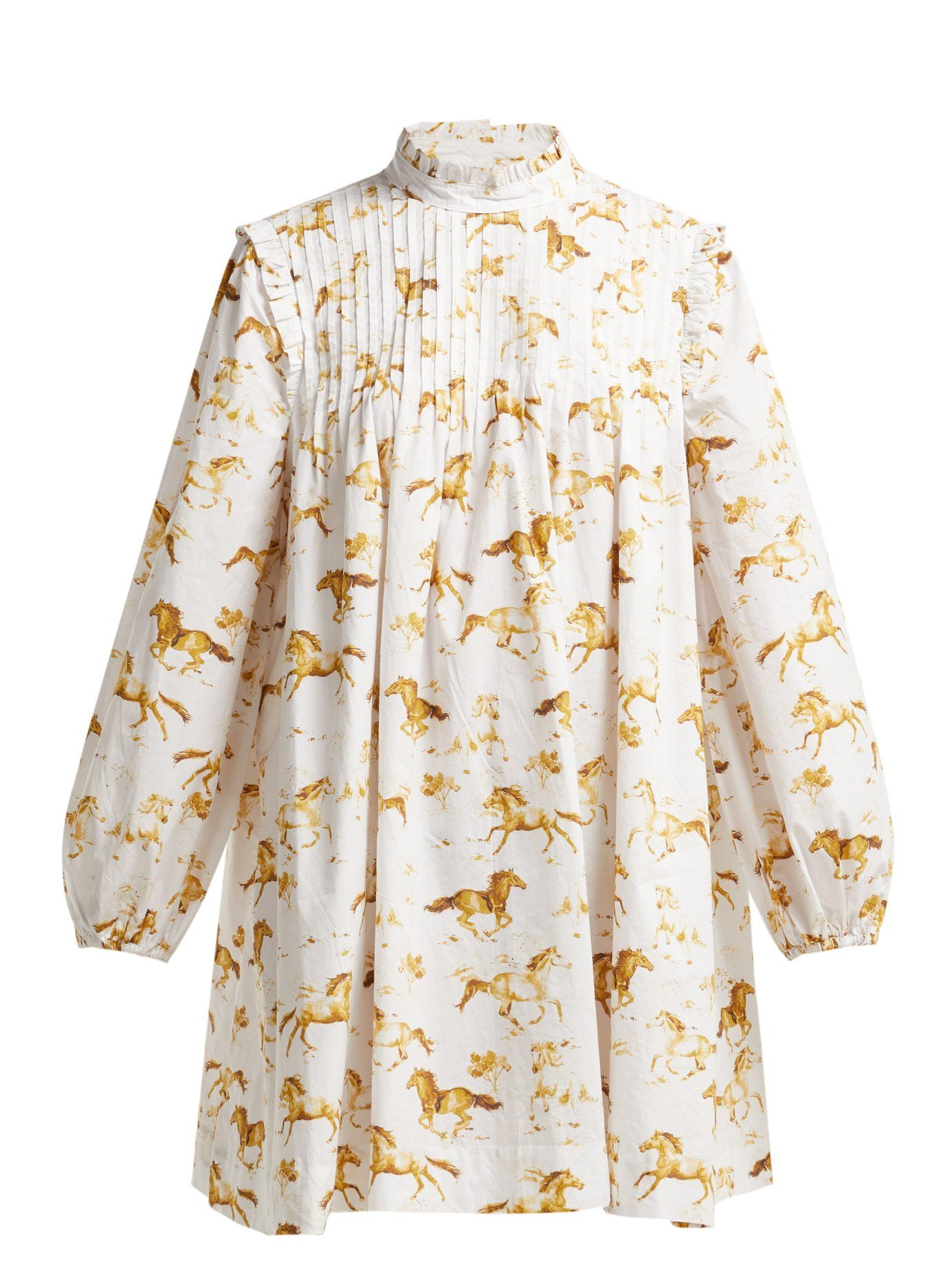 shop-ganni-horse-print-cotton-poplin-mini-dress