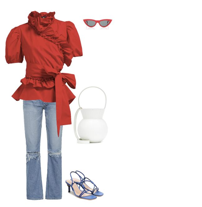 alexachung-ruffled-red-cotton-blouse-outfit-inspo