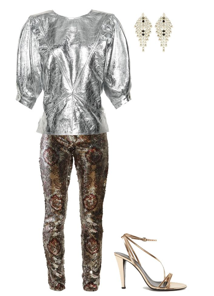 isabel-marant-sequinned-metallic-outfit-spring-2019