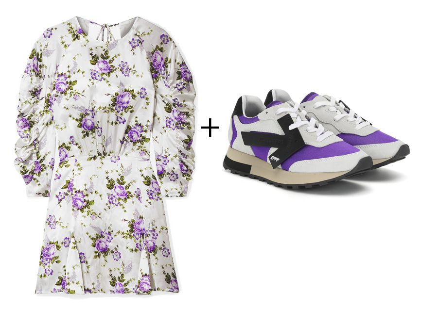 les-reveries-ruched-floral-dress-off-white-runner-suede-sneakers