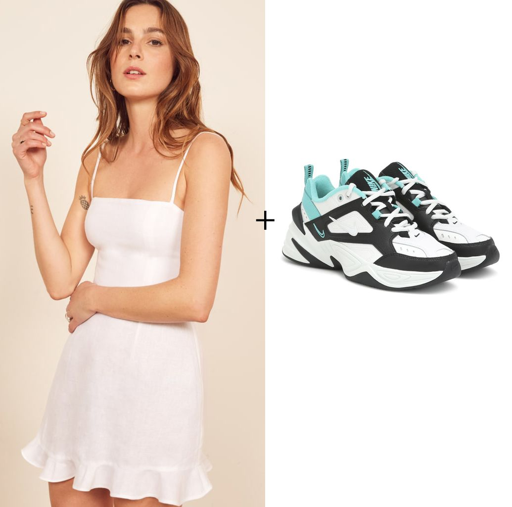 reformation-kiernan-dress-nike-m2k-tekno-sneakers