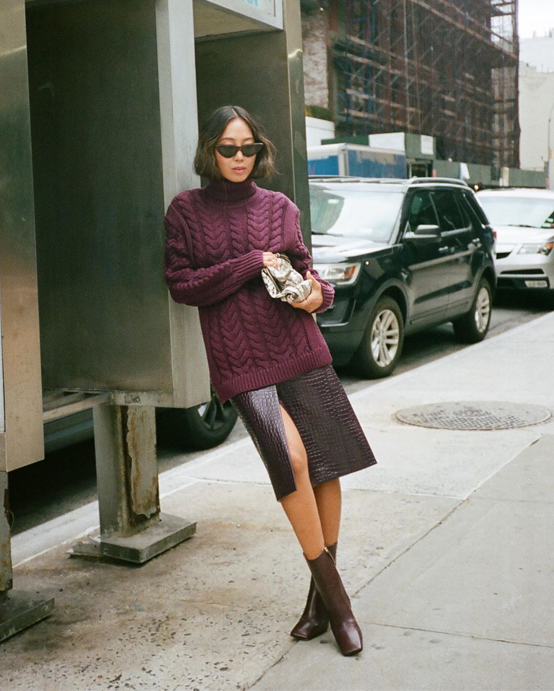 aimee-song-in-a-tibi-open-back-cable-knit-wool-blend-turtleneck-sweater-street-style