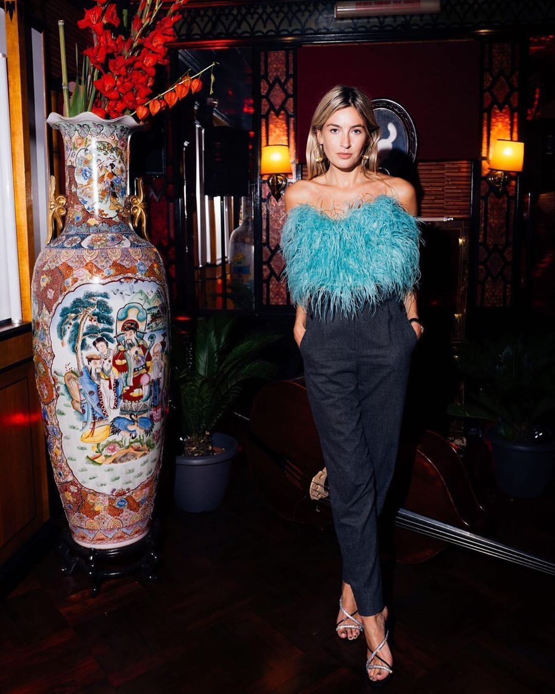 camille-charriere-attico-feather-bustier-milan-fashion-week-spring-2020