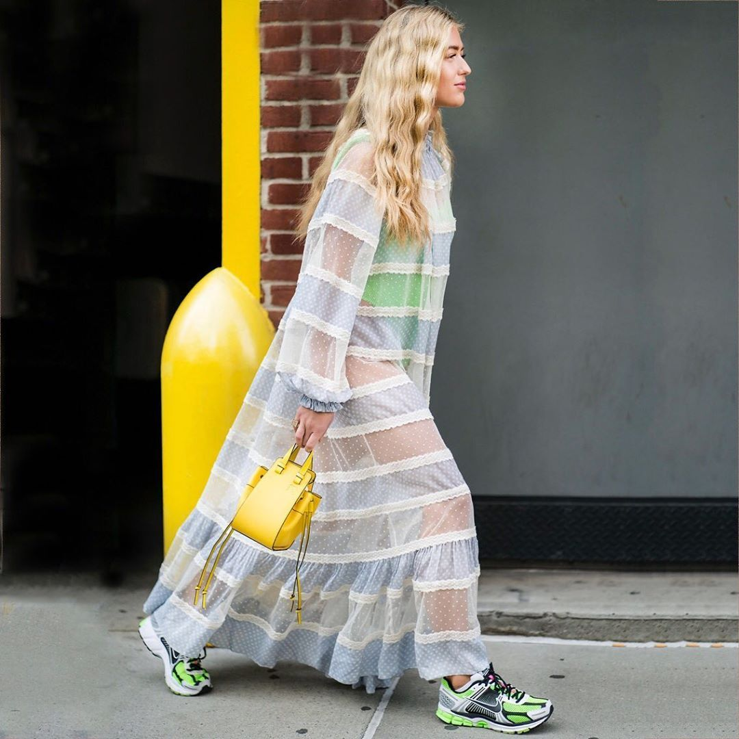 emili-sindlev-cecilie-bahnsen-dress-nike-sneakers-outfit-new-york-fall-2019