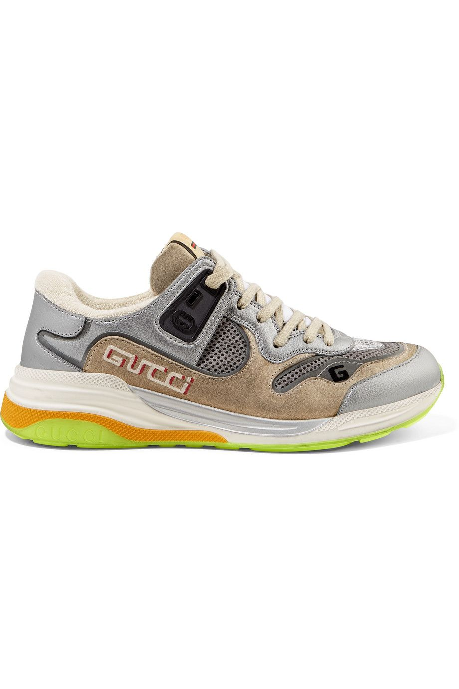 gucci-ultrapace-silver-metallic-leather-and-mesh-suede-sneakers