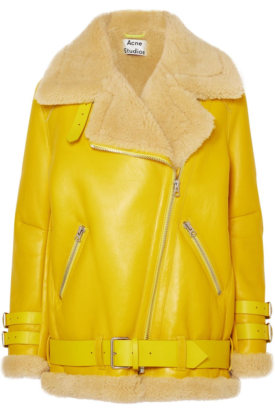 acne-studios-velocite-shearling-trimmed-leather-biker-jacket-bright-yellow