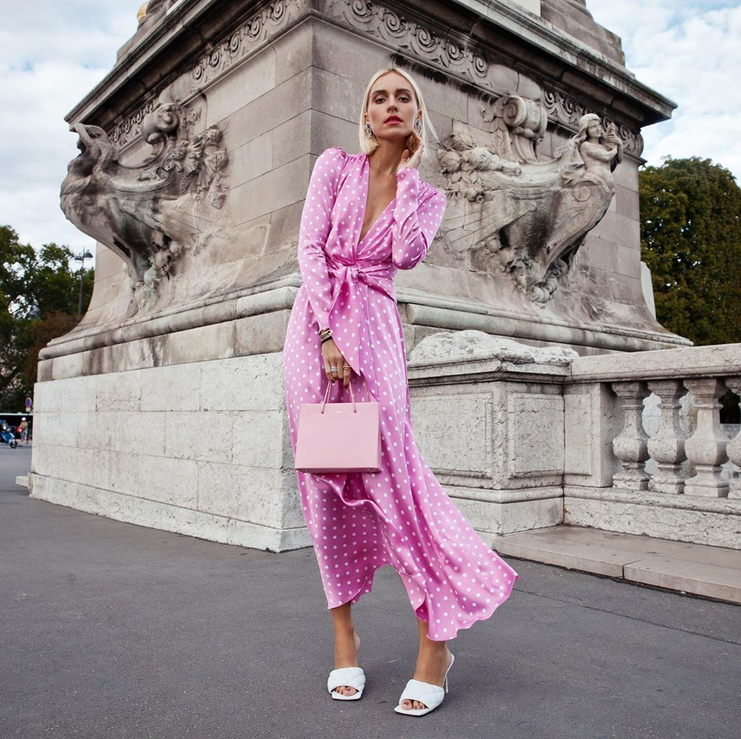 alessandra-rich-polka-dot-pink-silk-satin-midi-dress-viktoria-rader-instagram