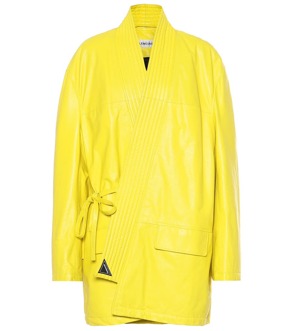 balenciaga-yellow-leather-coat-judo-robe-style