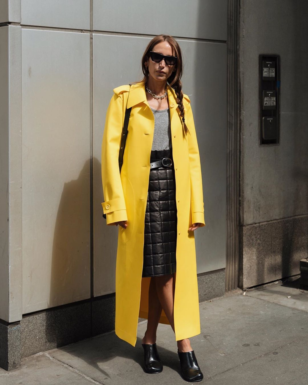 bottega-veneta-yellow-pu-trench-coat-chloe-harrouche-street-style