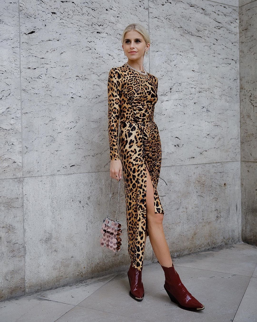 caro-daur-paco-rabanne-leopard-print-stretch-top-skirt-paris-fashion-week