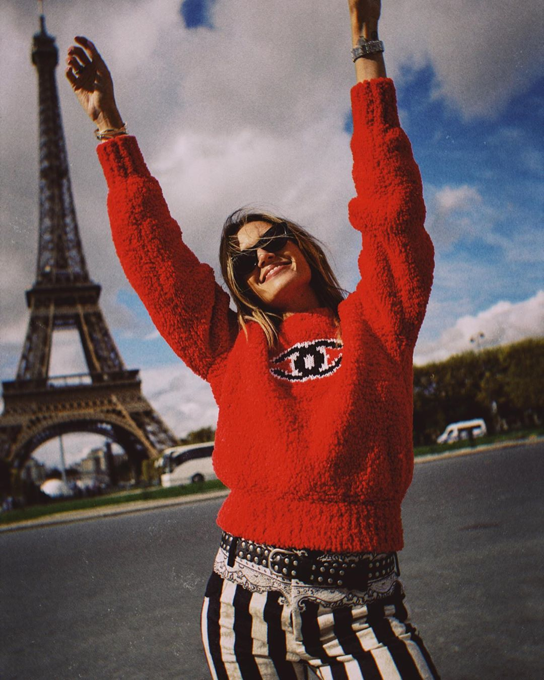 helena-bordon-red-chanel-sweater-paris-street-style