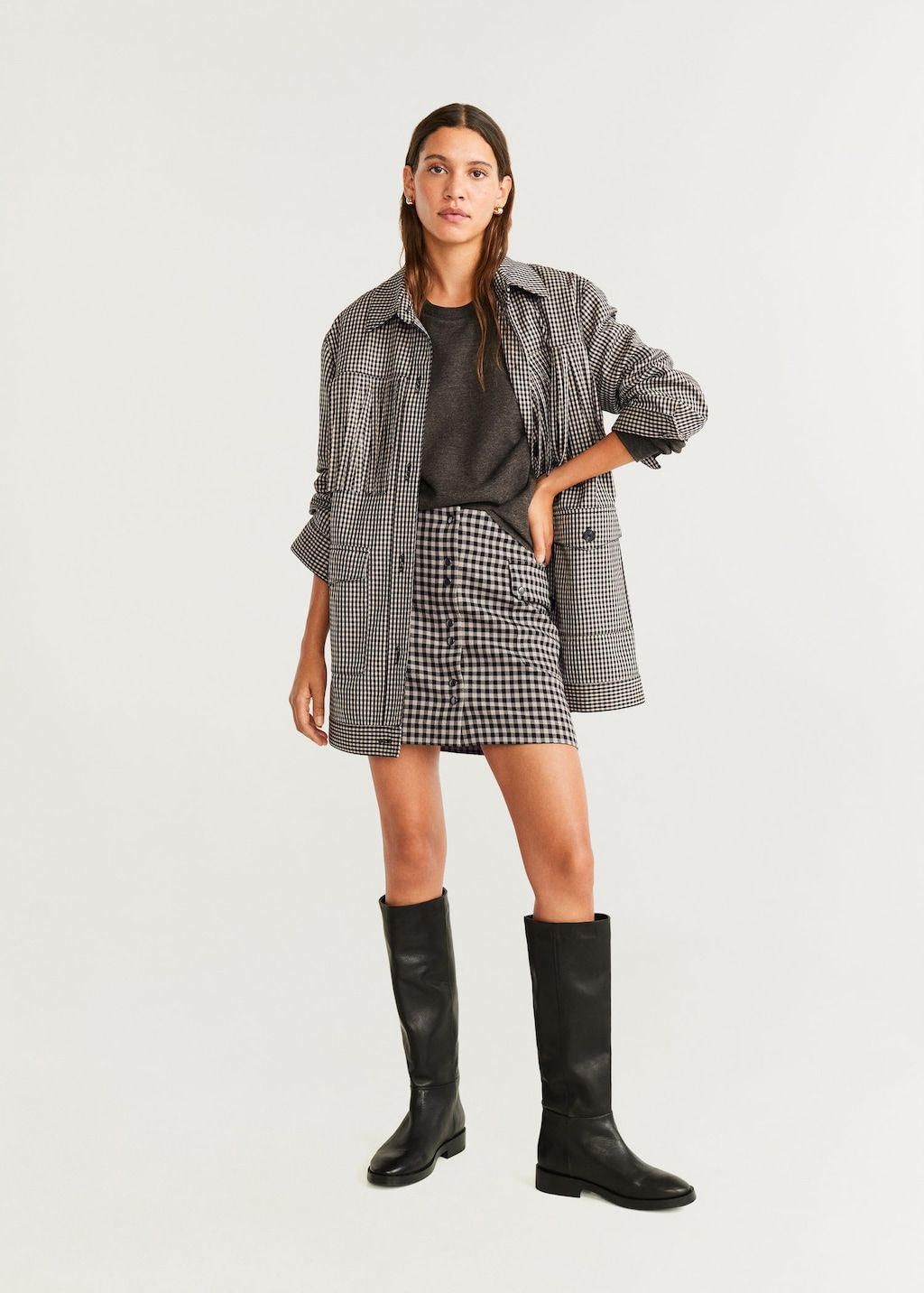 mango-check-miniskirt-fringed-trench-co-ord