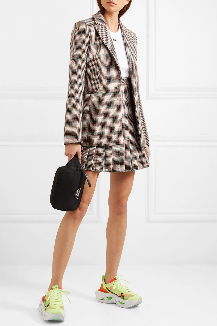 off-white-checked-wool-blazer-matching-pleated-skirt-outfit